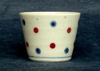 陶磁器 砥部焼 そばちょこ 水玉(釉裏紅)