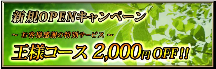 巣鴨に11月13日新規オープン! 王様コース2000円OFF