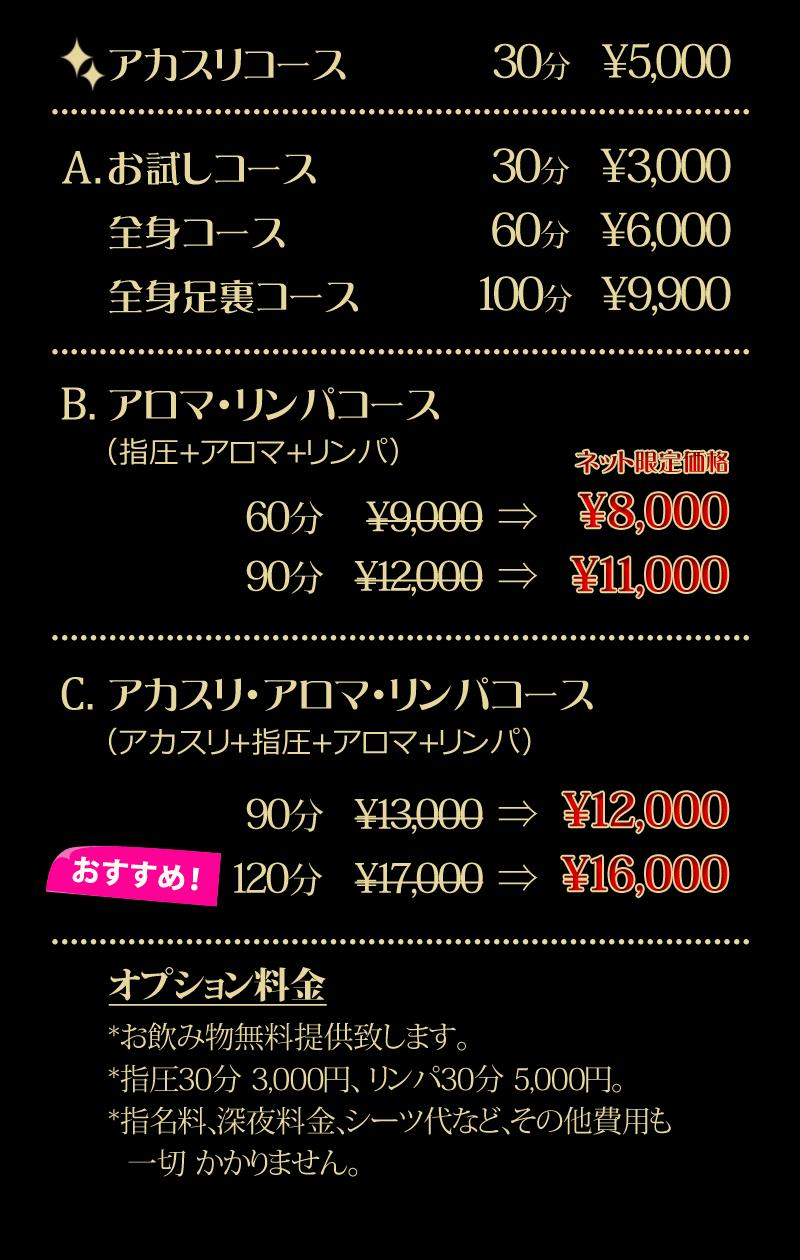 アカスリコース<br /> 30分 ¥5,000<br /> <br /> 基本コース<br /> 60分 ¥6,000<br /> <br /> アロマリンパコース NO1コース<br /> 60分 ¥8,000<br /> 90分 ¥11,000<br /> <br /> アロマリンパコース(アカスリ付き)<br /> 60分 ¥9,000 おすすめコース<br /> 90分 ¥12,000<br /> <br /> オプション料金<br /> *お飲み物無料提供致します。<br /> *指圧30分3,000円、リンパ30分5,000円。<br /> *指名料、深夜料金、シーツ代など、その他費用も一切かかりません。<br />