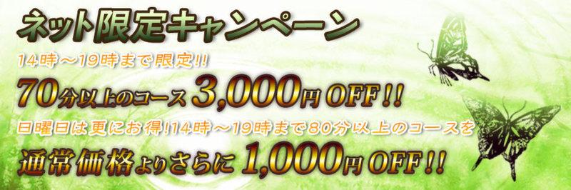 ネット限定キャンペーン<br /> 14時〜19時まで限定!!<br /> 70分以上のコース3,000円OFF!!<br /> 日曜日は更にお得!14時〜19時まで80分以上のコースを<br /> 通常価格よりさらに1,000円OFF!!