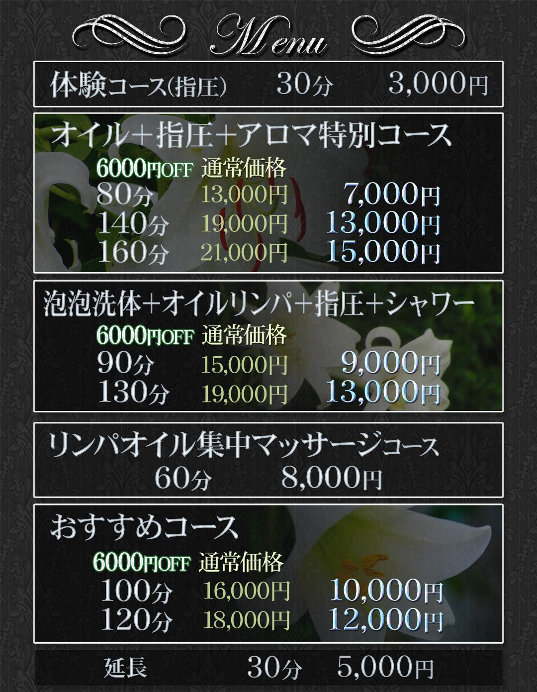 メニュー料金表